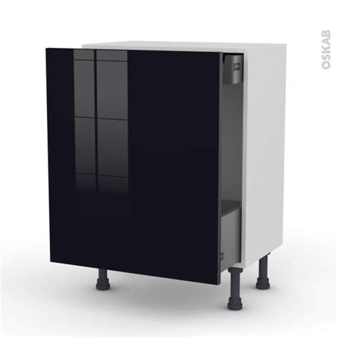 meuble cuisine tiroir coulissant meuble de cuisine bas coulissant keria noir 1 porte 1 tiroir à l 39 anglaise l50 x h70 x p58 cm oskab