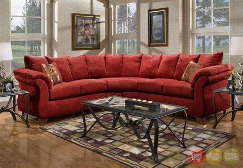 sensations red microfiber sectional sofa  loose pillow