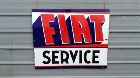Fiat Sign by 1957 Fiat Service Porcelain Sign 41x33 H63 Monterey 2014