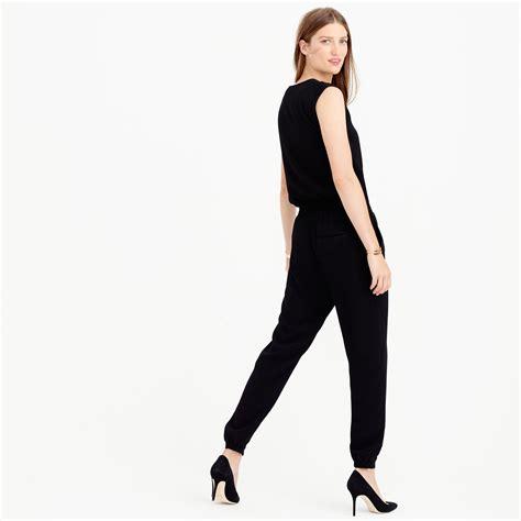 jcrew jumpsuit j crew asymmetrical zip jumpsuit in black lyst