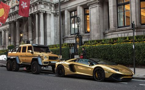 Gold Plated Mercedes, Bentley And Lamborghini Flown To