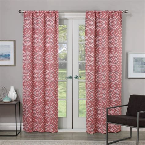 coral colored curtains drapes eclipse blackout 84 in l coral rod pocket curtain