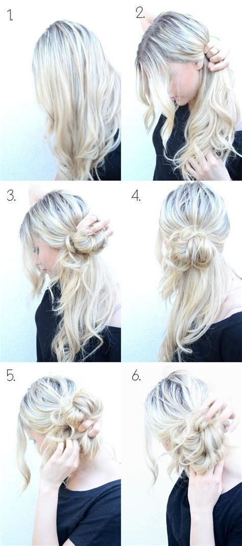 easy messy bun updos tutorial cute hairstyles popular