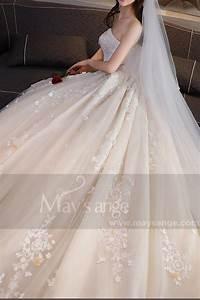 Robe Mariage Dentelle : robe ceremonie mariage pas cher champagne pale bustier ~ Mglfilm.com Idées de Décoration