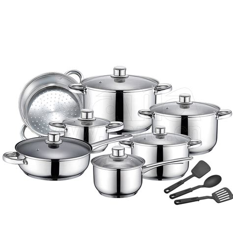cookware stainless steel 16pcs promotion senior lid glass