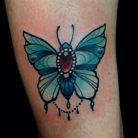 jewelled blue butterfly tattoo  eilo  mtl tattoo