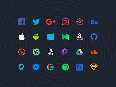 Social Icons Flat Sketch Popular Icon Updated