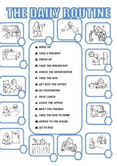 daily routines activities worksheets  ile web