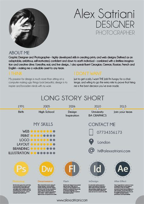 alex graphic design cv on student show