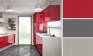 stunning cuisine gris anthracite et rouge pictures With decoration cuisine rouge gris