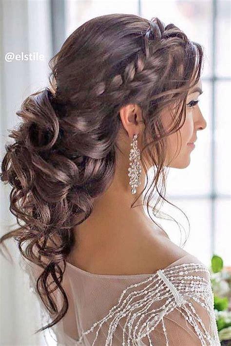 braided loose curls  updo wedding hairstyle peinado