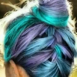 Blue Green and Purple Hair