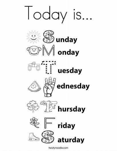 Days Week Coloring Pages Today Worksheet Worksheets