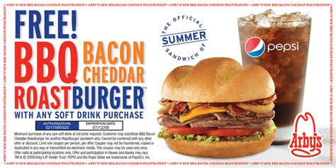 cuisine addict code promo free bbq bacon cheddar roast burger at arbys with purchase