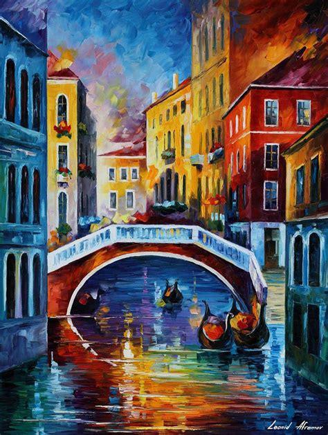 venice morning palette knife oil painting  canvas