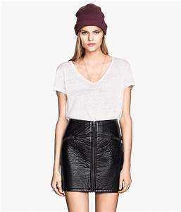 Front Zip Leather Skirt - Dress Ala