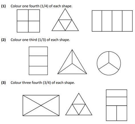basic fraction worksheets  class  maths