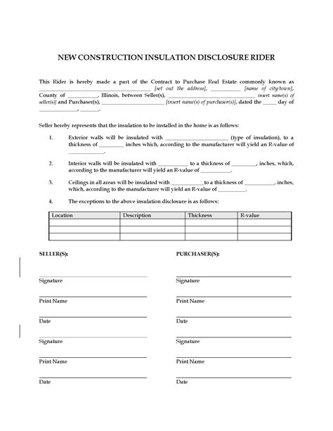 illinois  construction insulation disclosure rider