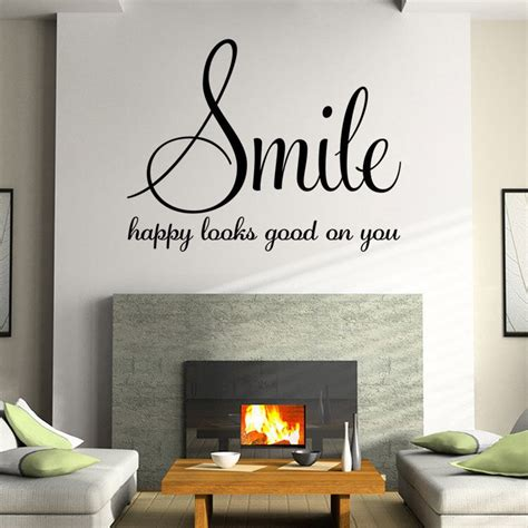 family words smile quotes wall sticker poster living room