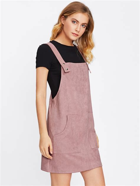 Patch Pocket Front Suede Overall Dress | SHEIN USA