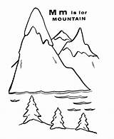 Mountain Coloring Pages Worksheet Mountains Letter Printable Sheets Clipart Colouring Colour Nature Abc Geography Popular Books Letters Coloringhome Camping sketch template