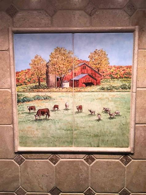 annes country kitchen barnyard animals tile art portraits