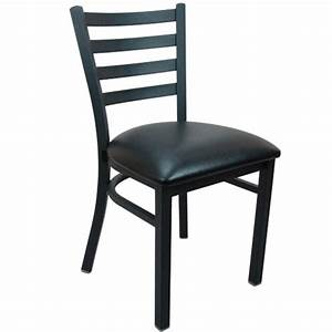 Advantage Black Metal Ladder Back Restaurant Chair