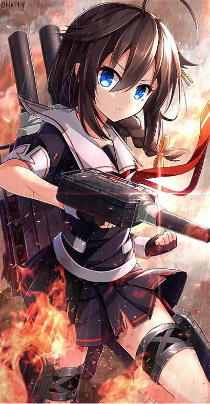 Kantai Shigure Anime Kancolle Fire Evening Mobile