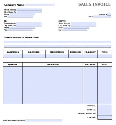 sales invoice template free sales invoice template excel pdf word doc