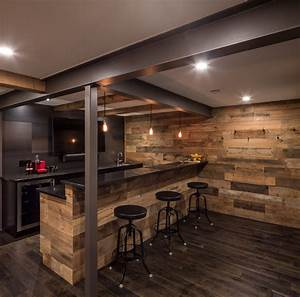 Steel and Wood Bar - Just Basements Ottawa - Rustic - Home