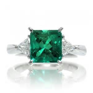 emerald gemstone engagement rings emerald triangle classic three engagement ring in platinum