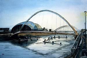 Millenium Bridge. Newcastle Upon Tyne. Painting by John Cox
