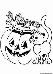 Citrouille D Halloween Dessin : coloriage une citrouille d 39 halloween et un chat ~ Nature-et-papiers.com Idées de Décoration
