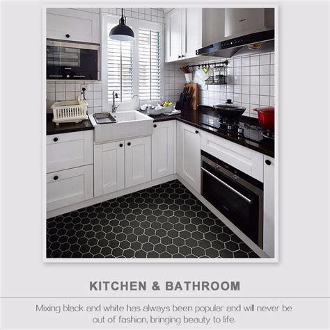 black hexagon tile kitchen floor morespoons fad