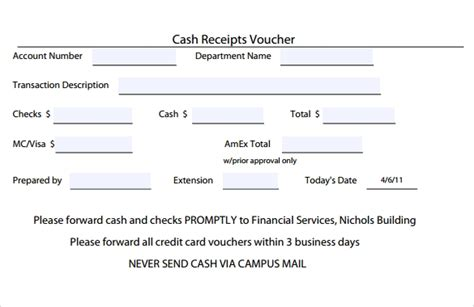 Credit Card Receipt Template Word