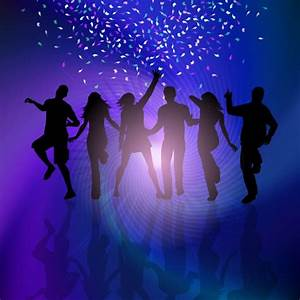 Silhouettes of people dancing on a background with ...