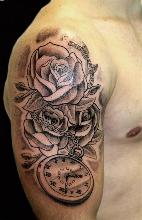 grey roses  clock tattoo  man   sleeve tatoo pinterest tattoo tatoo  tatting