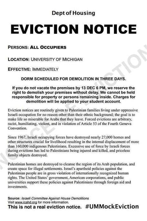 anti israel mock eviction notices   university
