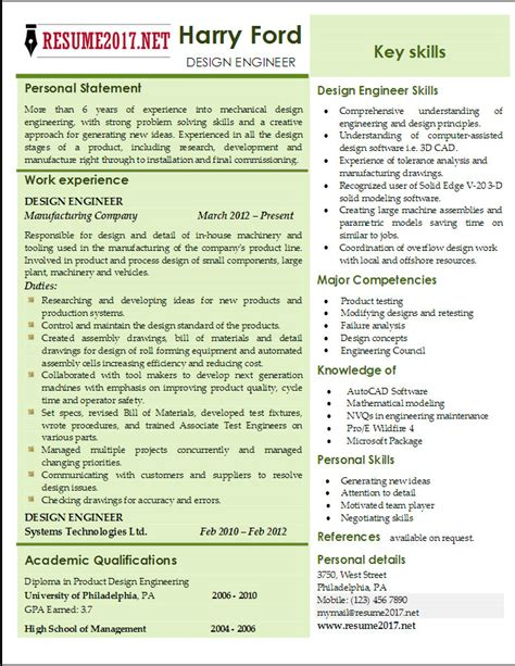 design engineer resume templates 2017