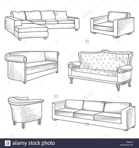 sofa outline vector furniture set interior detail outline sketch collection