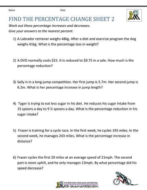 percent change word problems worksheet free worksheets