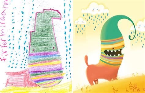 artists recreate kids monster doodles