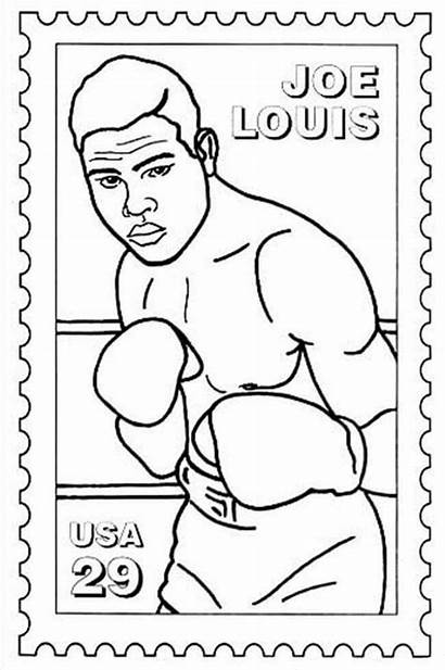 Coloring History Month Pages Louis Joe Boxing
