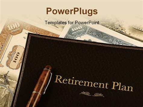 Retirement Powerpoint Template by Retirement Plan Portfolio On Top Of Vintage Stock