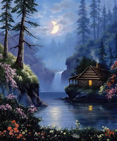 Paintings Lake Painting Landscapes Discover Cabin