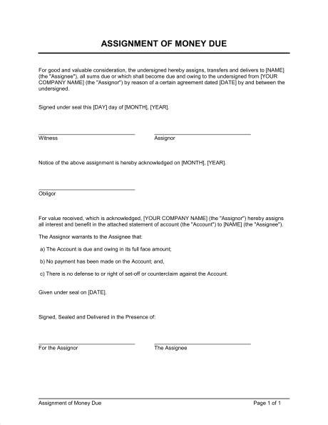 assignment  money due template sample form biztreecom
