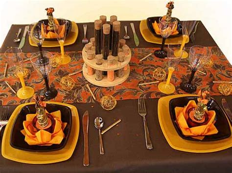decorating ideas for fall holidays table decoration in black and orange colors