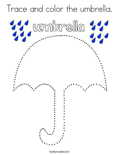 Trace And Color The Umbrella Coloring Page  Twisty Noodle
