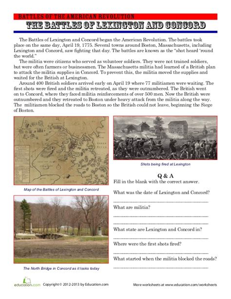 battles of and concord worksheet