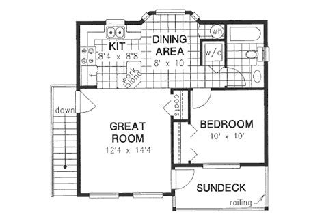 Traditional Style House Plan   1 Beds 1.00 Baths 583 Sq/Ft
